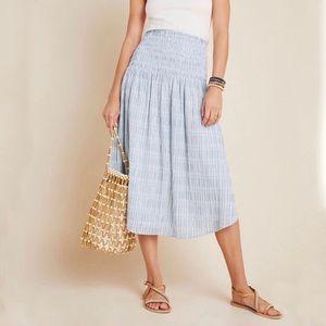 Anthropologie Maeve Karyn Smocked Midi Skirt